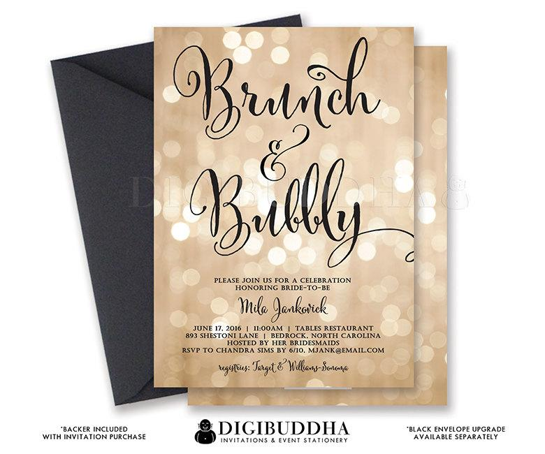 Mariage - BOKEH BRUNCH & BUBBLY Invitation Champagne Bridal Shower Gold Sparkle Printable Black Calligraphy Free Shipping or DiY Printable - Mila