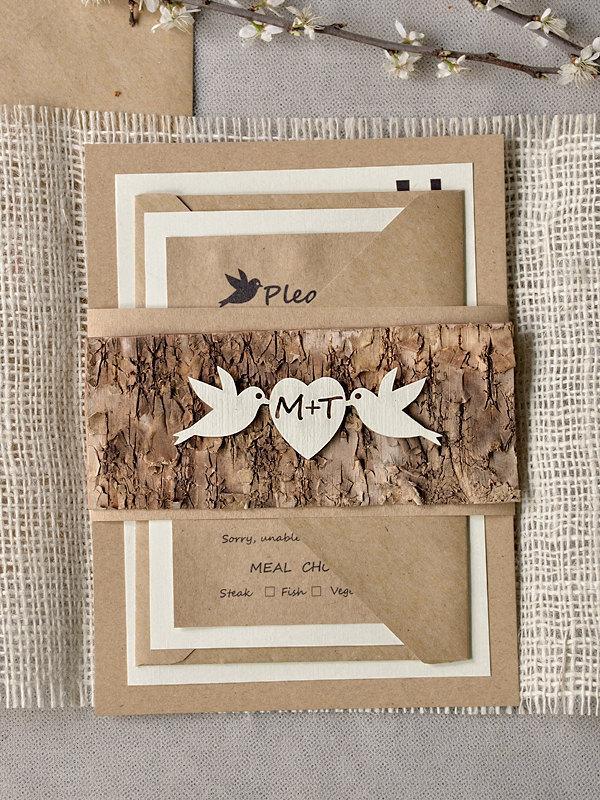 Mariage - Rustic Wedding Invitations (20), Wedding Invitation Suite, Tree Invitation, BurlapInvitation, LoveBirds invitation,