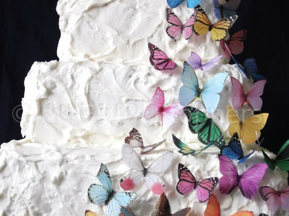 Mariage - Birthday Cake Topper - 30 Edible Butterflies in All Sorts - Wedding Cupcakes, Edible Paper, Cake Supply