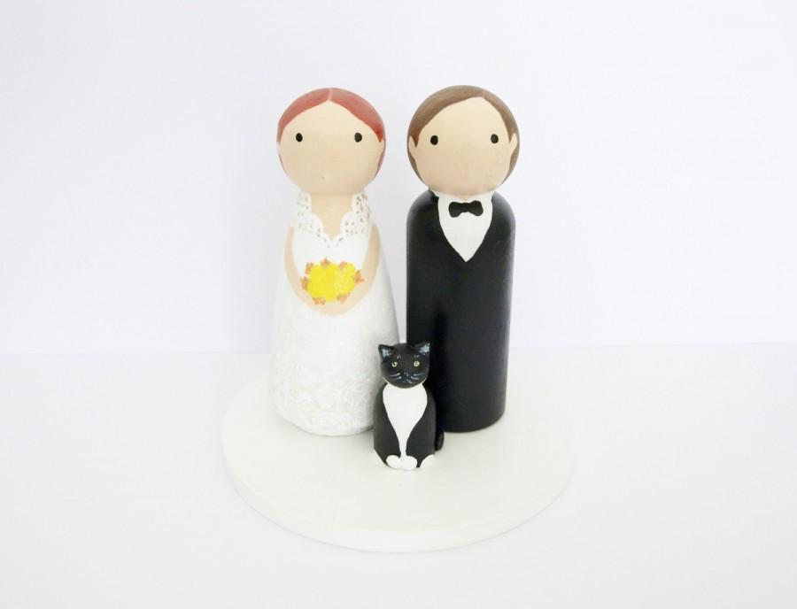 زفاف - Custom Wedding Cake Topper with Pet (s) - Bride & Groom - Personalized Wedding Decor