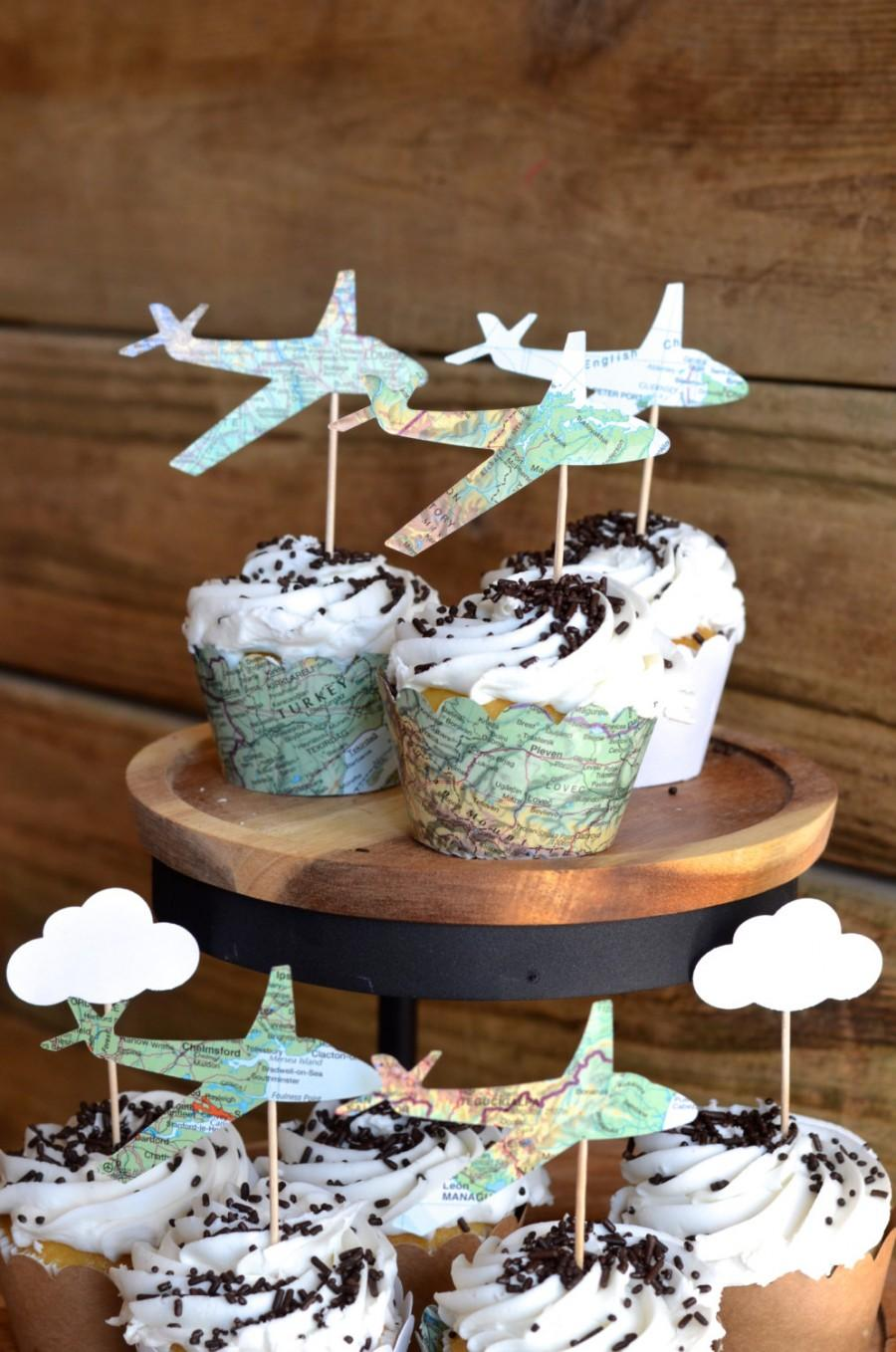 Свадьба - Vintage Map Airplane Cupcake Toppers