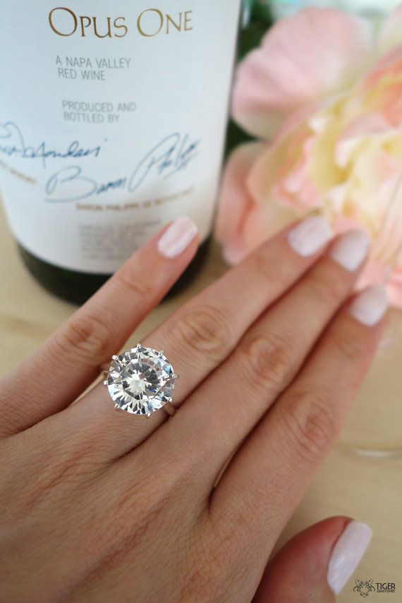 Hochzeit - 9 Carat Round Cut Solitaire Engagement Ring, Promise Ring, Flawless Diamond Simulant, Wedding, Bridal, Sterling Silver, Birthstone, 14k Gold