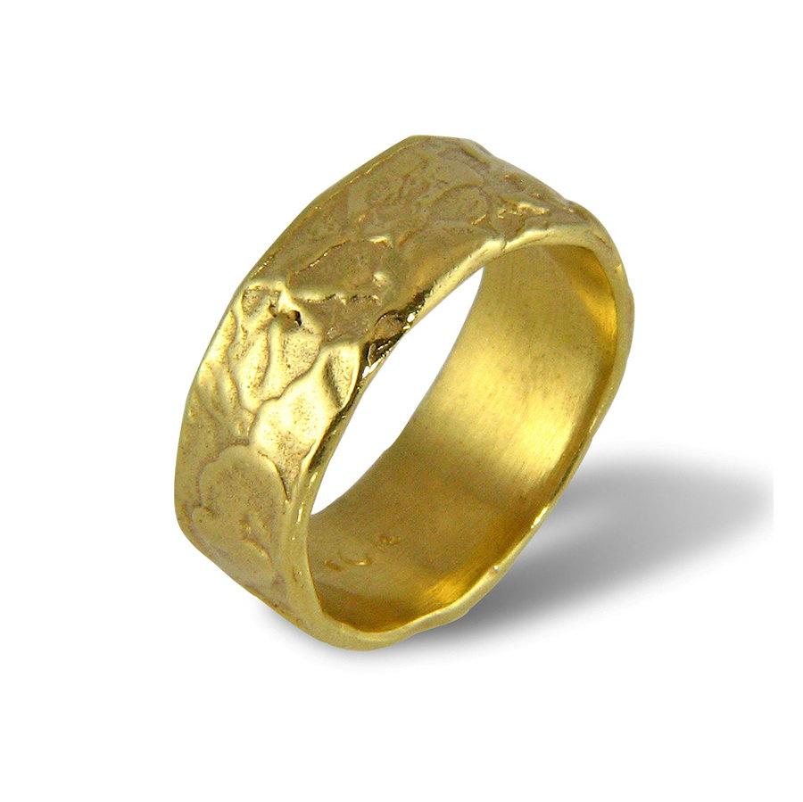 Unique Wedding Band For Men For Women Wide Wedding Ring Yellow Gold Organic Ring Unisex