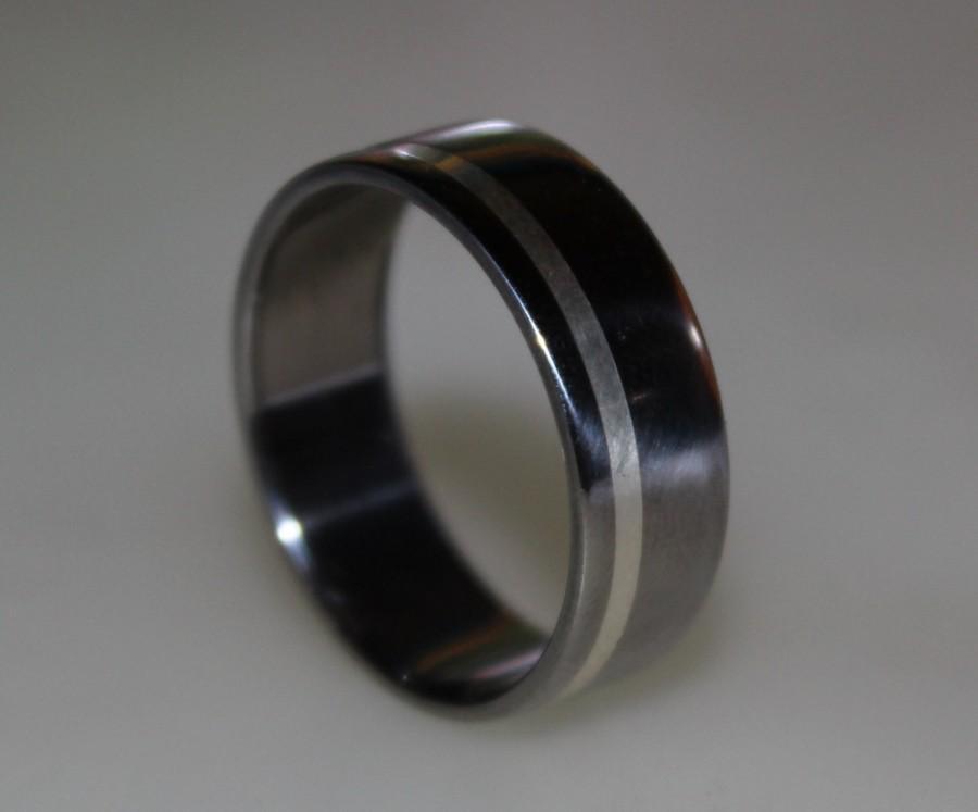 Ring Mens Titanium Wedding Band Sterling Silver Ring Silver Ring
