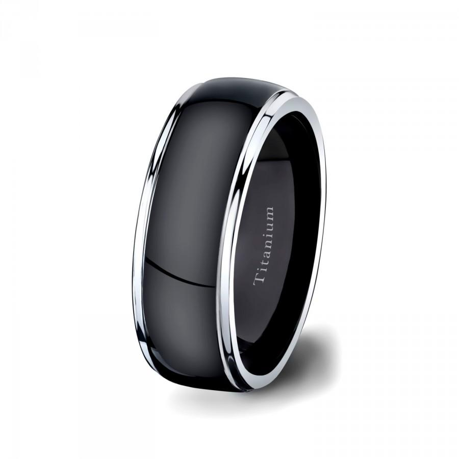 Mens Wedding Band Black Titanium Ring 8mm Dark Surface Two Tone White Step Down Edges Comfort