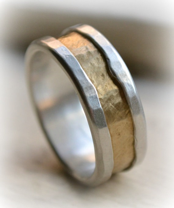 Свадьба - mens rustic fine silver and brass ring - handmade hammered artisan designed wedding or engagement band - customized