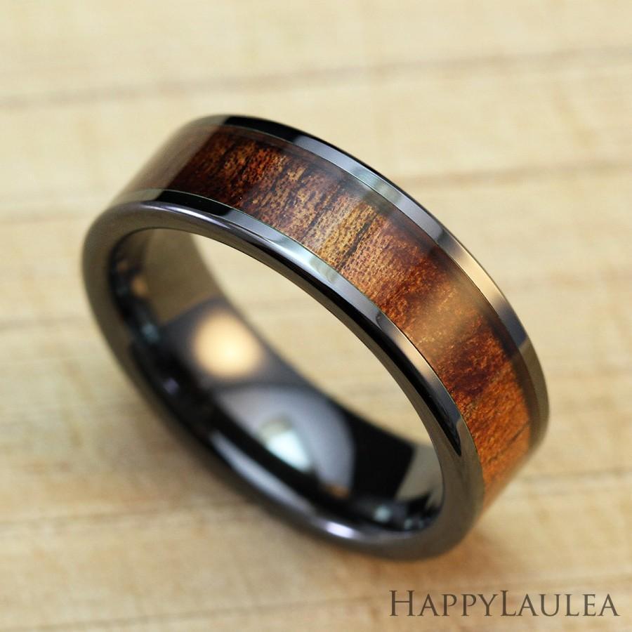 Mariage - Black Ceramic Ring with Koa Wood Inlay (6mm width, Flat type)