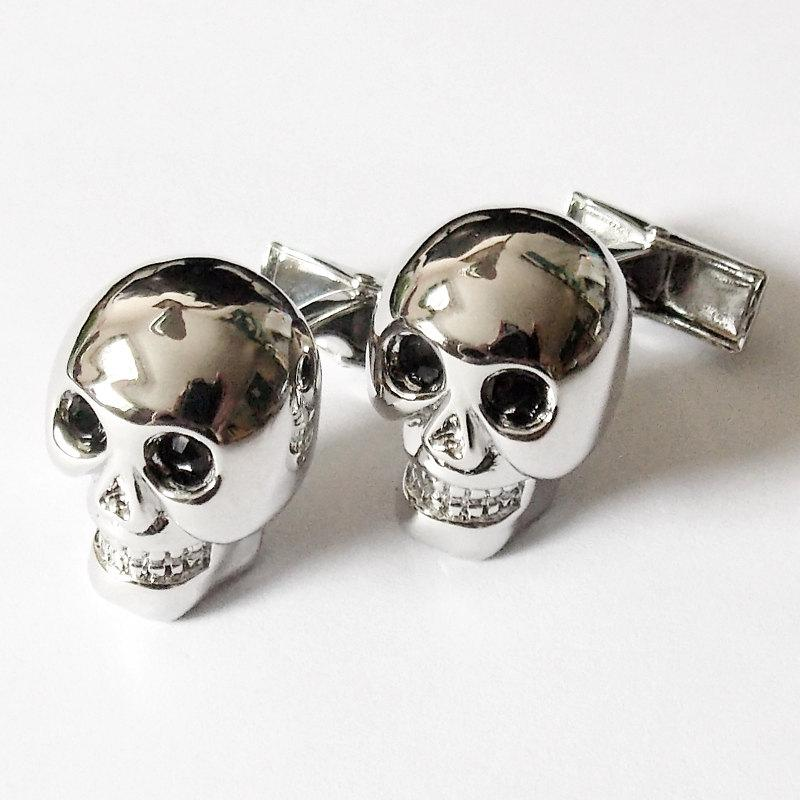 Wedding Cufflinks Silver Finish Skull Groom Best Man Usher Cuff Links Christmas Gift Birthday GBA