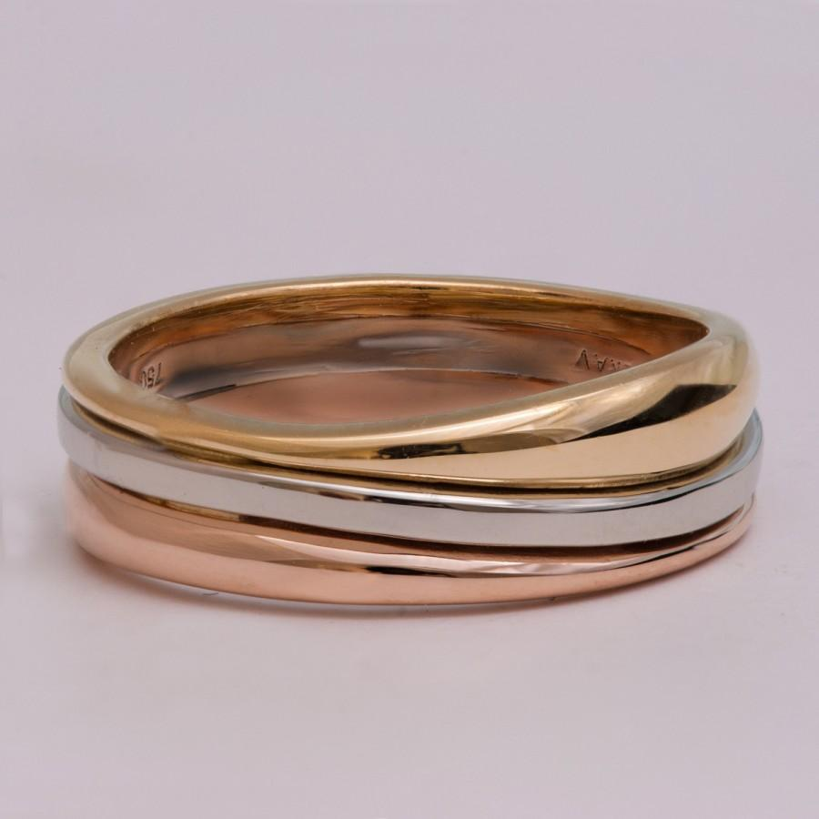 Tricolor Wedding Band Unique Ring Men S Wave