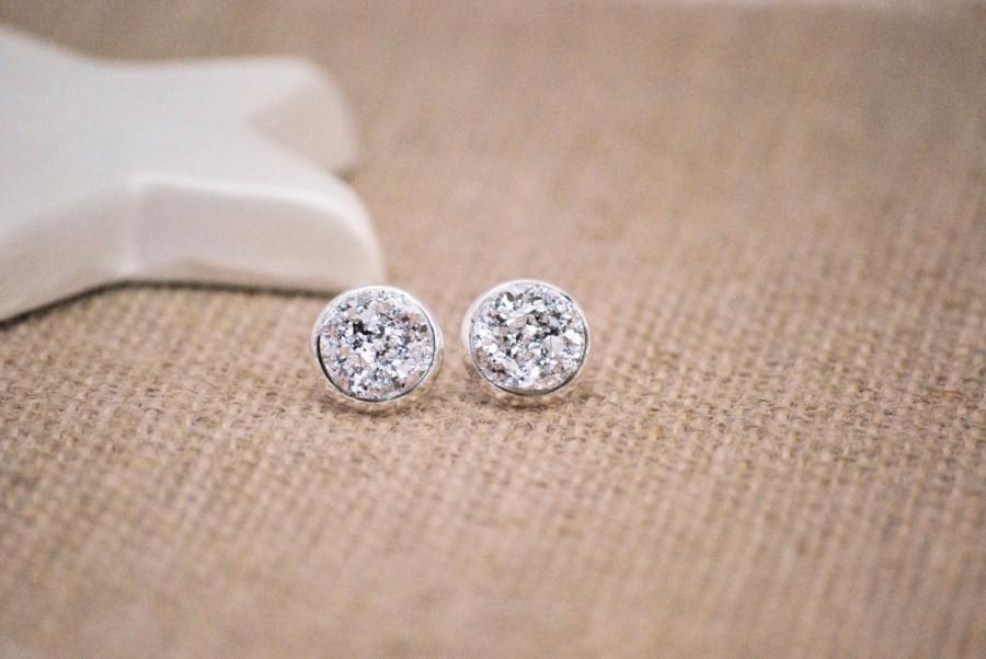 Silver Druzy Earrings Stud Metallic Faux Plugs