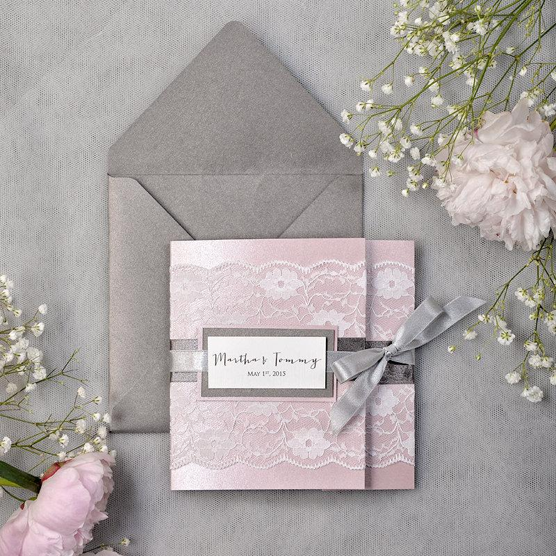 Mariage - Custom listing(100) Dark Grey & Pink Lace Wedding Invitation, Pocket Fold Wedding Invitations, Pink  Wedding invitation,