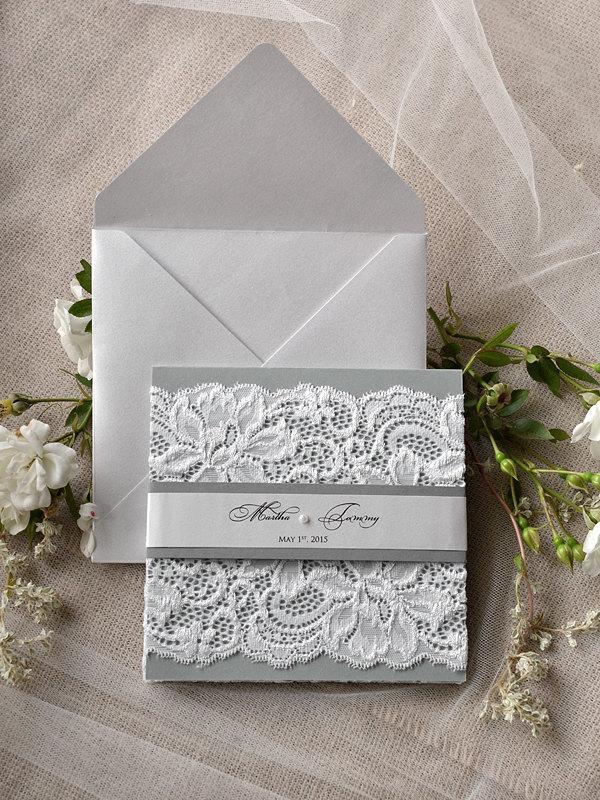 Mariage - Custom Listing (20) Silver & Grey Wedding Invitation, Lace Wedding Invitations, Vintage Grey Invitation 4lovepolkadots,
