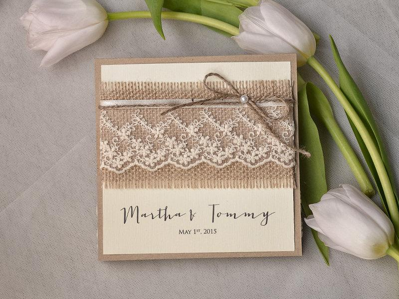 Wedding Invitations With Burlap: Custom Listing (100) Recycling Paper, Burlap Invitation