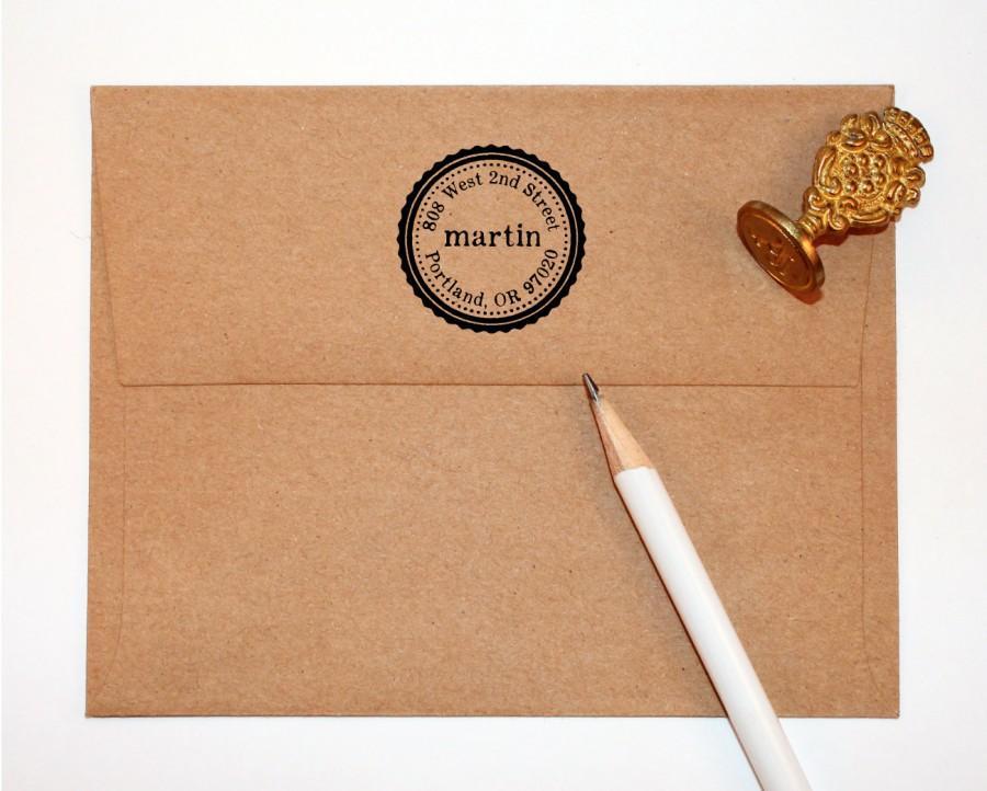 Hochzeit - Self Inking Return Address Stamp - circle return address stamp, self Inking black, rubber stamp wood handle