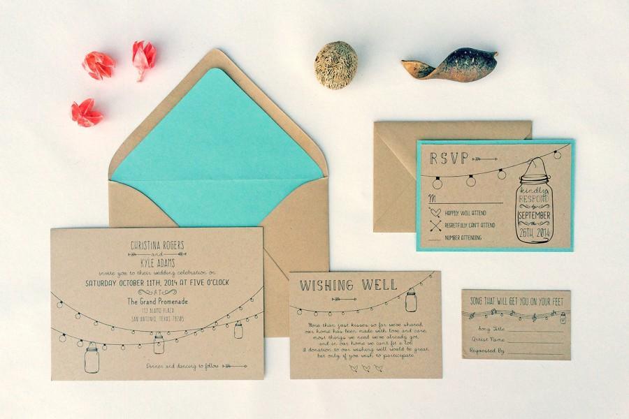 Mariage - ANNABELLE Suite: Editable Wedding Invitation Suite - Rustic Mason Jar Lights - DIY Instant Download Printable File