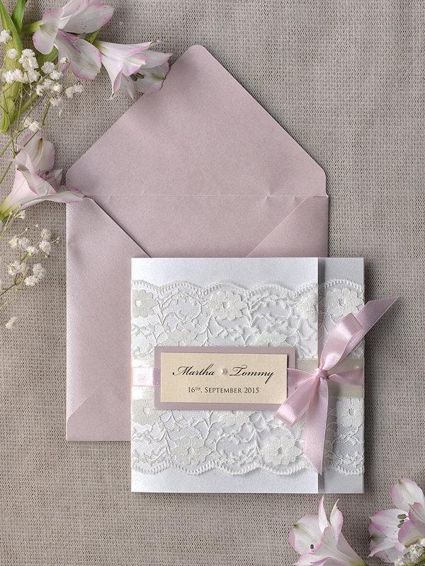 Mariage - Romantic  Wedding Invitation Pink and Lace (100) ,Ivory Invitation,Pocket Fold Invitations ,Vintage Wedding invitation,