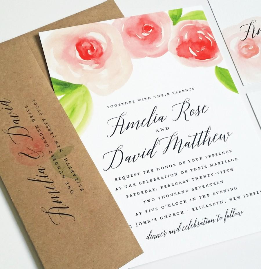 New amelia watercolor rose floral wedding invitation sample new amelia watercolor rose floral wedding invitation sample beautiful script pink and red watercolour flowers recycled kraft envelope stopboris Image collections