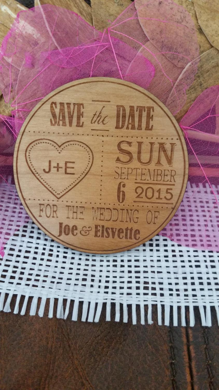 Calendar Save The Date Magnet 30 Wood Favour Rustic Invitation Wedding Love