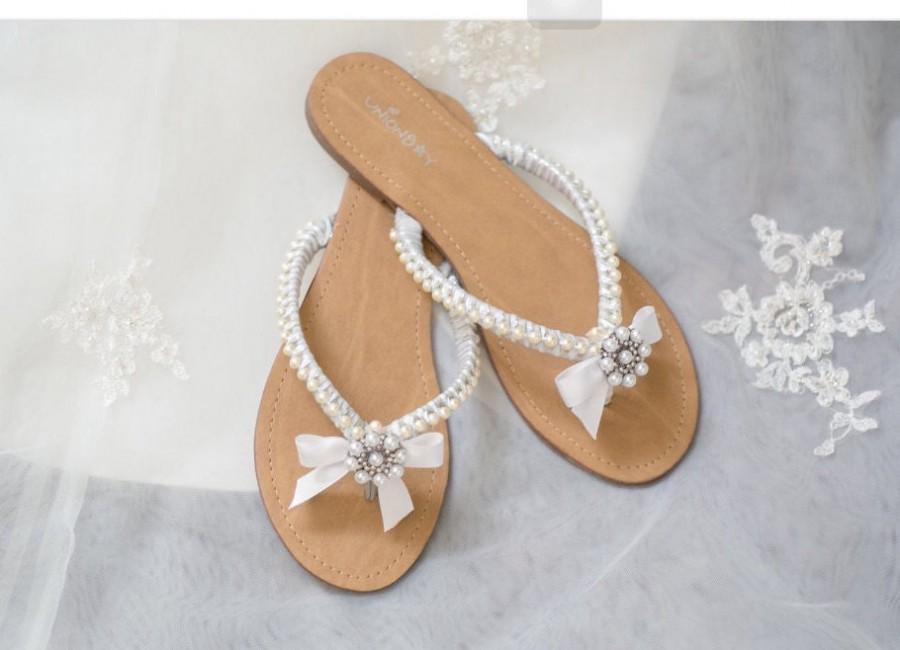 Свадьба - Wedding Sandals With Pearls and Rhinestone Custom Made