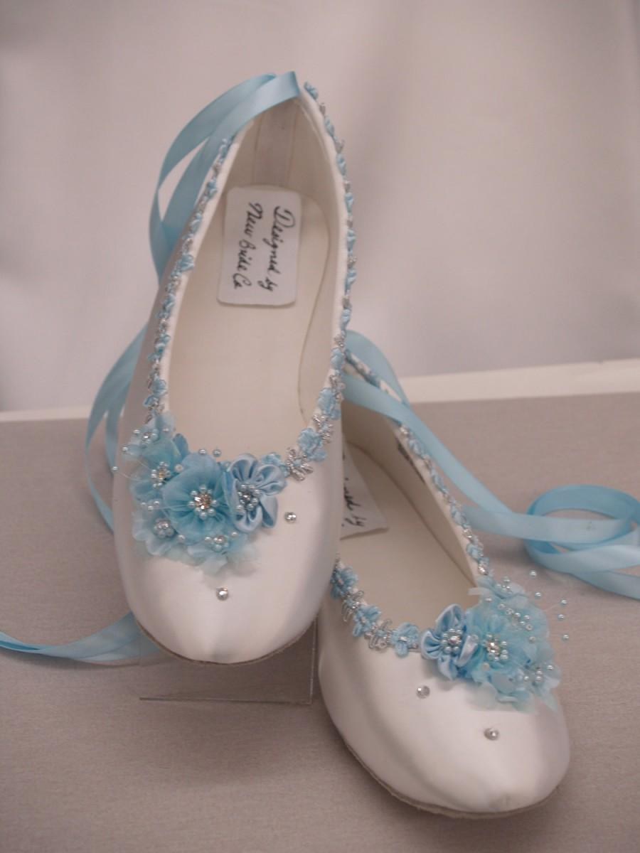 Hochzeit - Blue Wedding Flats White Satin Shoes - Blue Bridal Flat shoes, Brides Something Blue Wedding Shoe, Blue Flowers, Lace Up Ballerina Slipper