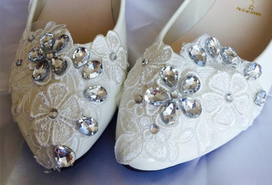 Lace Wedding FlatsBridal Shoes Party Prom Evening Womens Size 9 6 7 Size8 10 11 12 Size4125