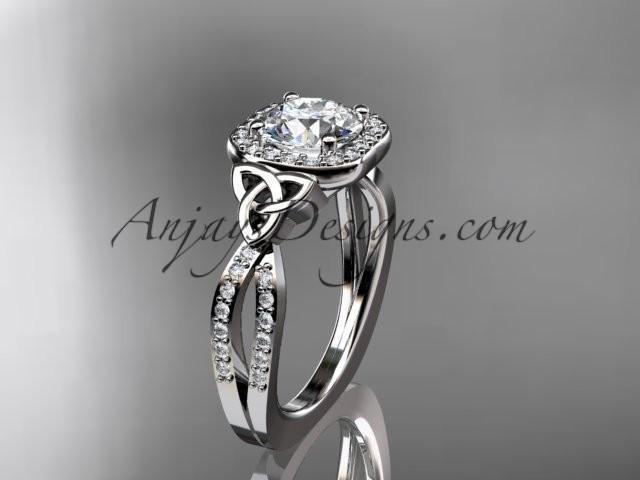 Boda - 14kt white gold diamond celtic trinity knot wedding ring, engagement ring CT7393