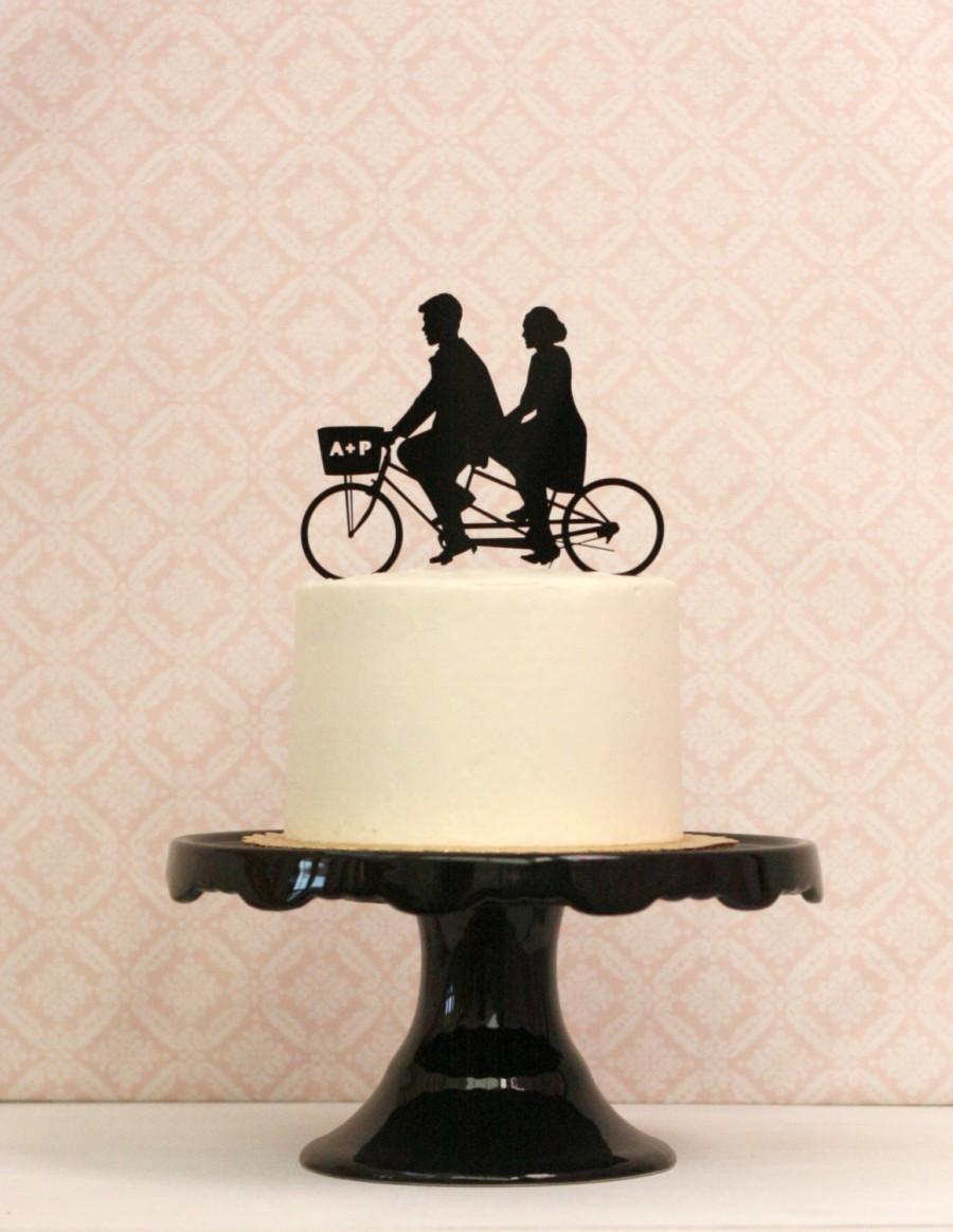 Custom Bike Wedding Cake Topper With Silhouettes On A Tandem Personalized Your Silhouette Bicycle