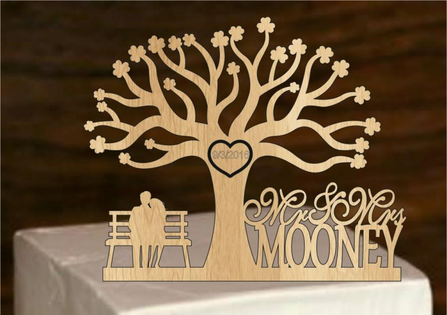 Свадьба - Rustic Wedding Cake Topper - Personalized wedding cake topper -  Monogram Cake Topper - Tree of life wedding cake topper - Bride and Groom