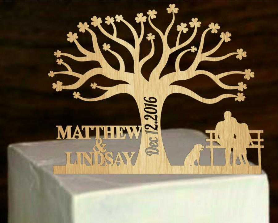 Свадьба - Rustic Cake Topper a Tree of life,Custom Wedding Cake Topper Personalized With Your First Names, a dog silhouette - bride and groom on bench