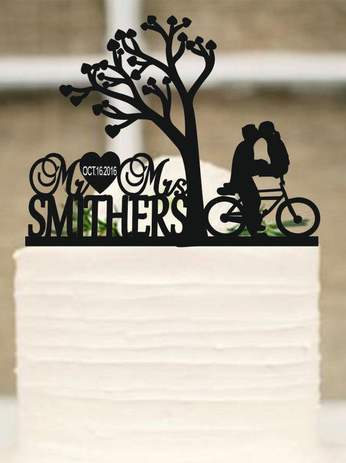 Wedding - Rustic Wedding cake topper, Wedding Cake topper, Custom Cake Topper, Monogram cake topper, Personalized cake topper, Mr and Mrs cake topper