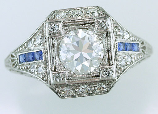 زفاف - Vintage Antique GIA Certified 1.51ct Diamond Sapphire Platinum Art Deco Engagement Ring