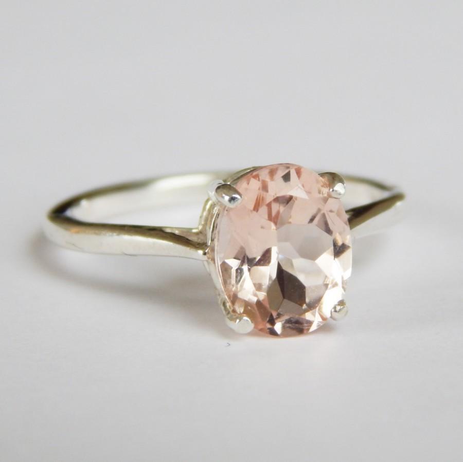 Mariage - La Bella Engagment Ring - Natural Morganite in 0.925 Sterling Silver or 14k Gold