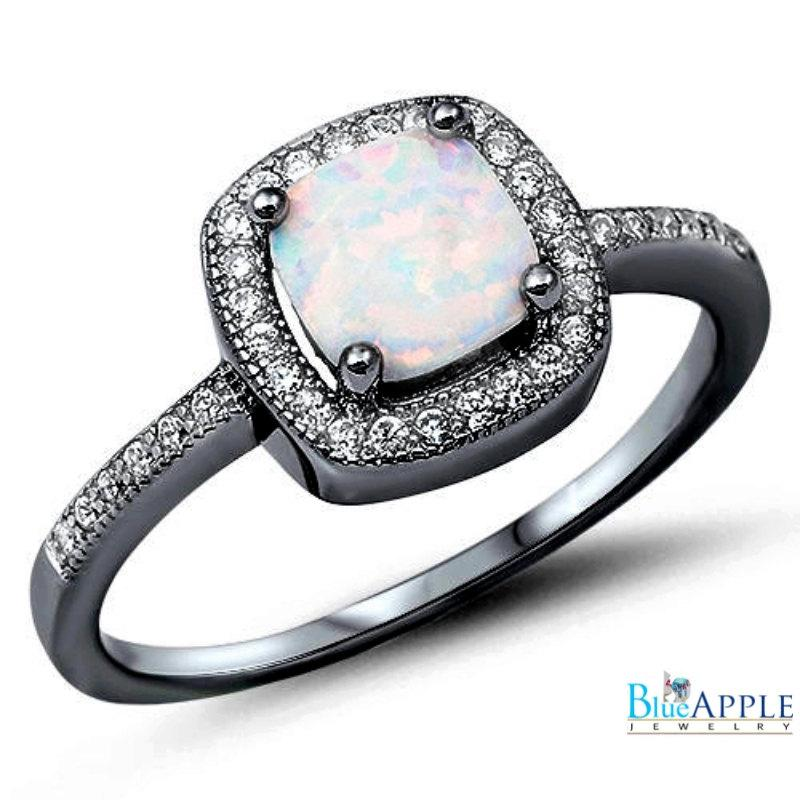 Свадьба - Halo Solitaire Accent Wedding Engagement Ring 1.42CT Princess Cut Lab White Opal Round Russian CZ Black Gold Over Solid 925 Sterling Silver