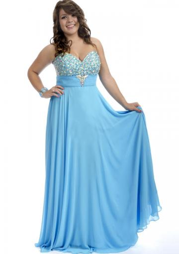 Wedding - 2015 Blue Chiffon Ruched Floor Length Sweetheart Lace Up Crystals Sleeveless