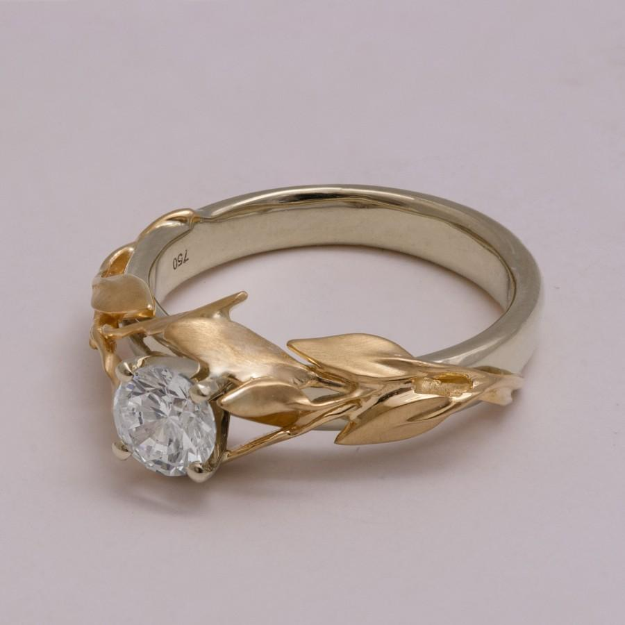 Diamond engagement rings alternatives - Two Tone Leaves Engagement Ring 14k White And Yellow Gold Diamond Ring Unique Engagement Ring Leaf Ring Alternative Engagement Ring