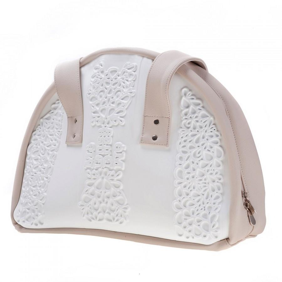Hochzeit - Big white bridal shoulder bag, white should purse, easy to clean white vegan shoulder bag with floral pattern in white and non leather beige