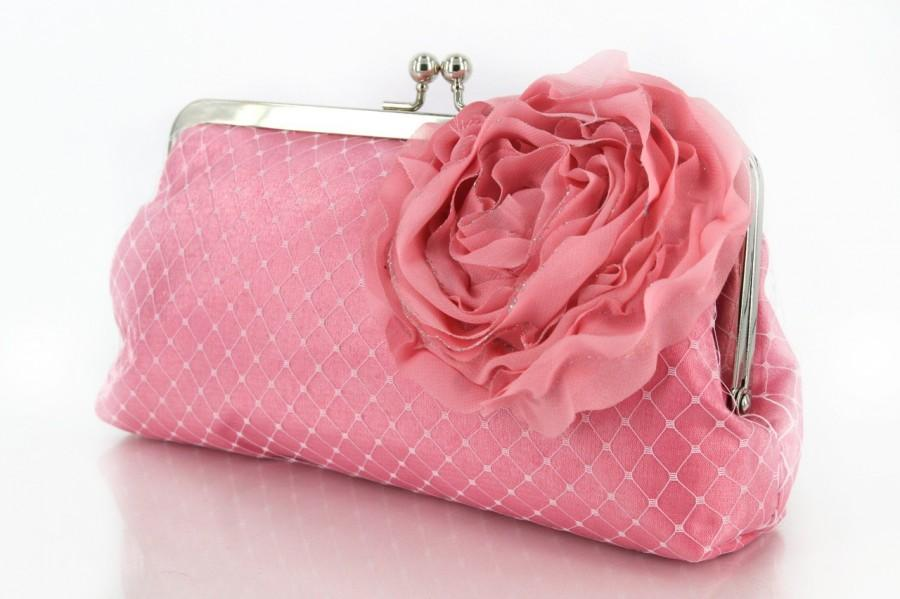 Свадьба - Personalized Gift, Bridesmaid Gift, Pink Bridal Clutch with Organza Rose brooch 8-inch PASSION