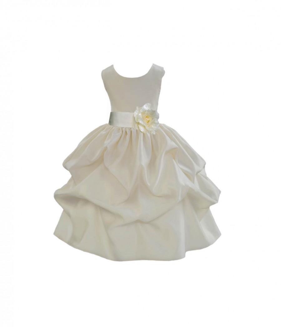 Ivory Choice Of Color Sash Kids Flower Girl Dress Pageant Wedding