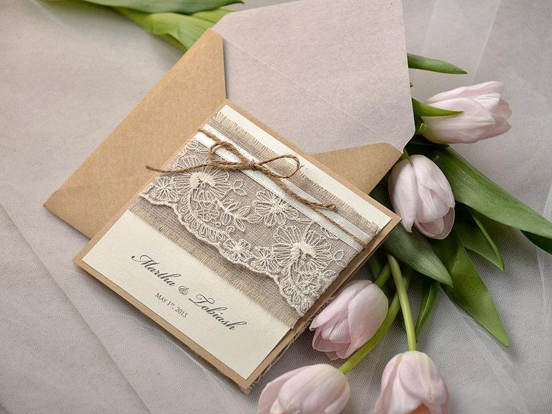 rustic wedding invitations 20 lace wedding invites pocket fold