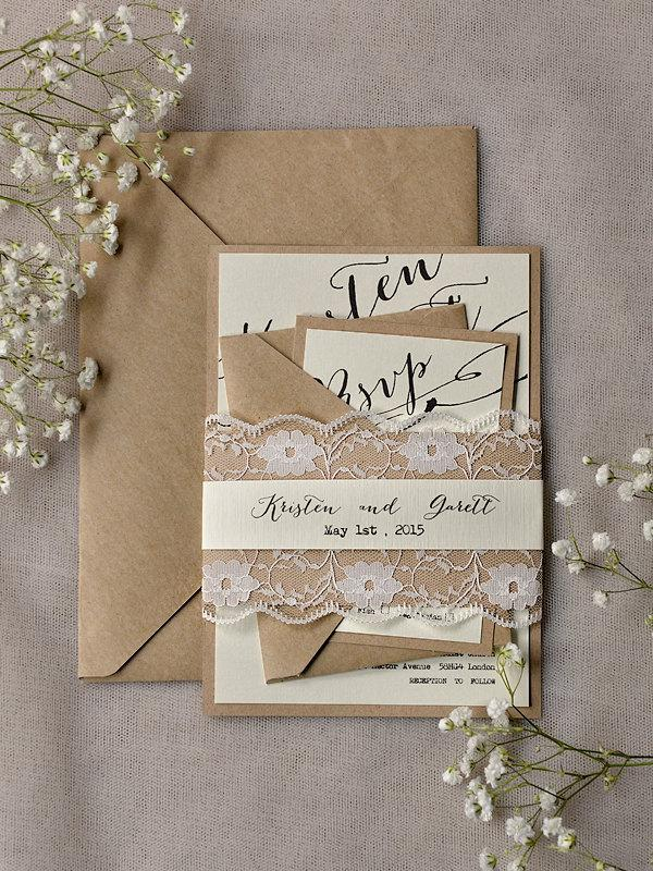 Rustic Lace Wedding Invitations (20), Calligraphy Wedding Invitations, Recycled Lace Invitation ...