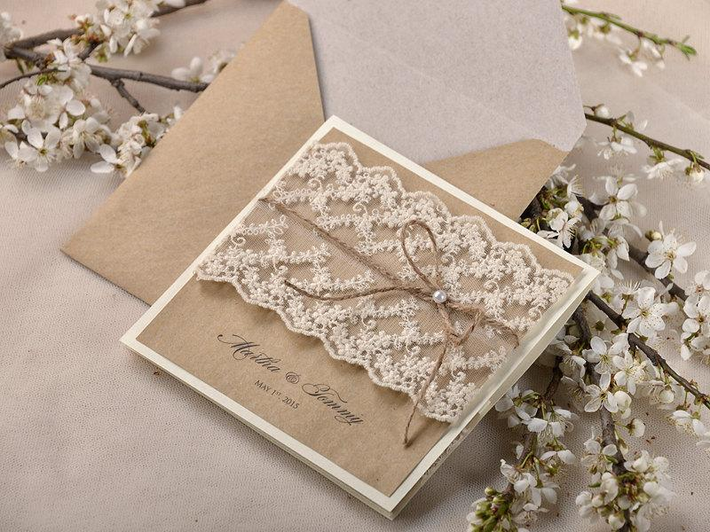 Rustic Wedding Invitations 20 Wedding Invitation Suite Lace WEdding Invitation Pocket Fold