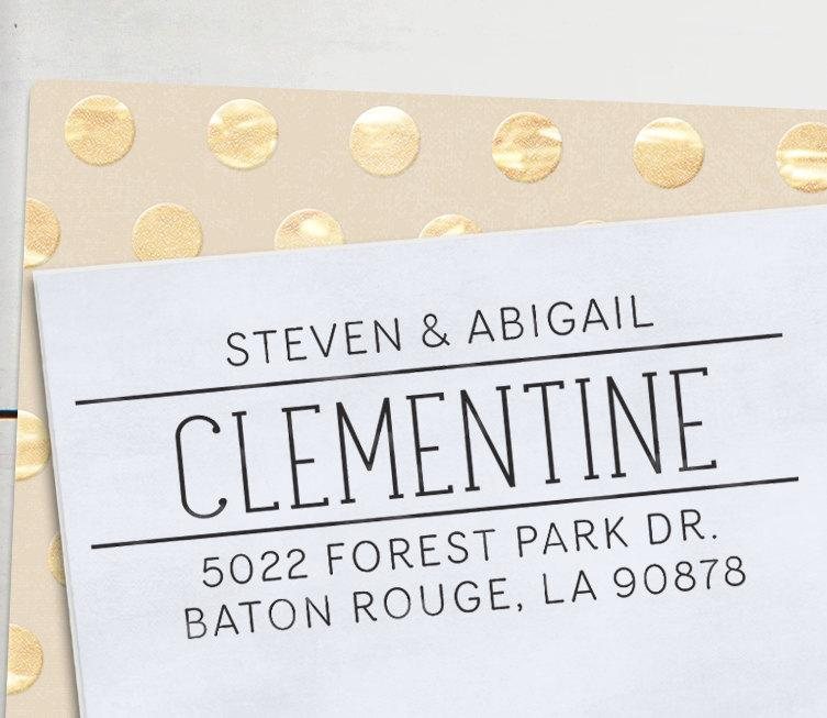 Mariage - Self Inking Address Stamp - handwriting style - Personalized Stamp - Clementine