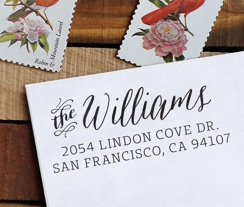 زفاف - Self Inking Address Stamp - handwriting style - wedding personal housewarming gift - Williams