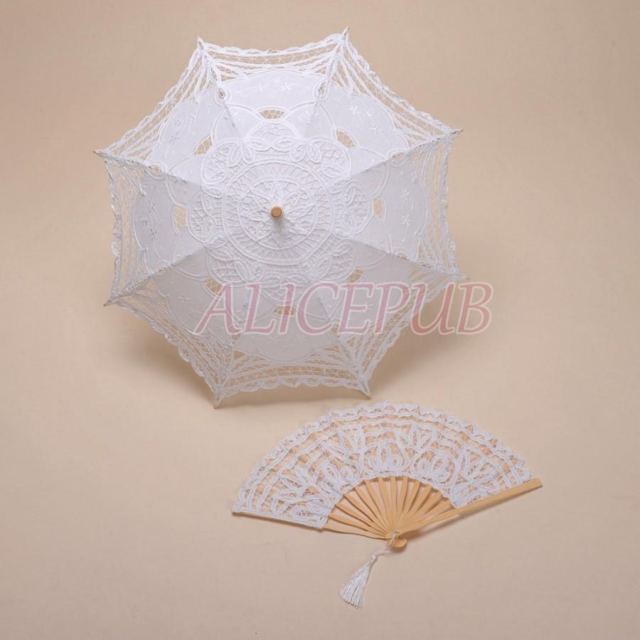 Lace Wedding Umbrella, Flower Girls Parasol And Fan Set, White ...