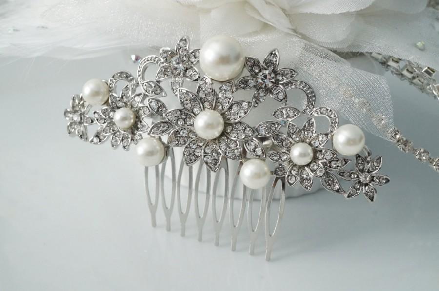 Свадьба - Bridal Rhinestone Hair Comb, Wedding Rhinestone Hair Comb, Pearl Hair Comb, Vintage Wedding