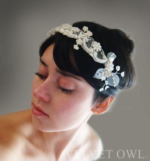 Wedding - Bridal antique lace headband hair band headpiece head dress clip and detachable mini unique tulle veil leaves vintage - GRACE
