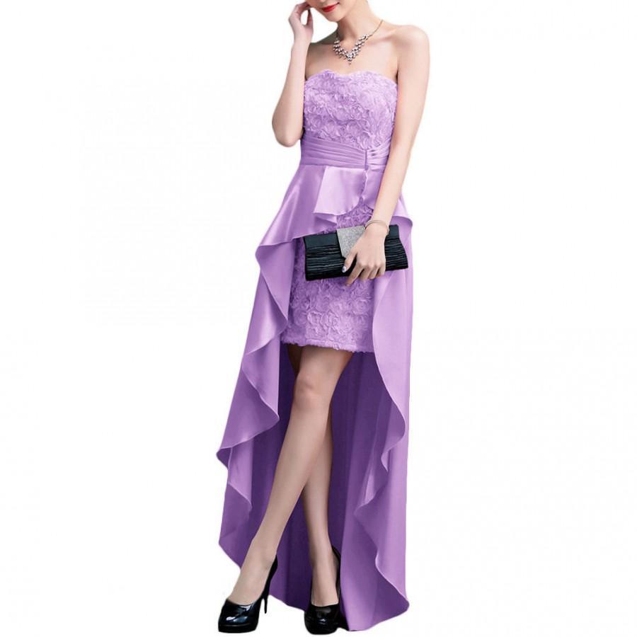 Свадьба - Purple Strapless Chiffon Ball Gown Prom Evening Bridesmaid Dress Formal Wedding Party