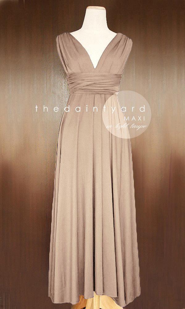 Mariage - MAXI Light Taupe Bridesmaid Convertible Dress Infinity Multiway Wrap Dress Wedding Dress Neutral Full Length