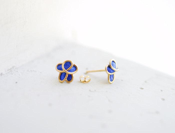 Wedding - 14k Gold Forget Me Not Flower Post Earrings Royal Blue 1st Anniversary Gift Paper Jewelry Best Friend Long Distance Relationship Gift Unique