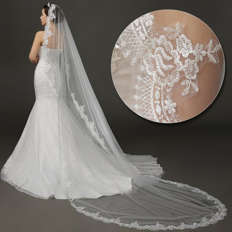 Mariage - cathedral veil, wedding veil, Ivory Bridal veil, cathedral wedding veil, lace wedding veil, lace chapel veil 3m,Cathedral veil lace edge